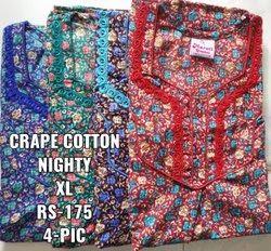 Ladies Crape Cotton Nighty