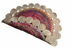 Jute,Cotton Chindi Designer Braided Round Rug, For Home, Size: 90 Cm