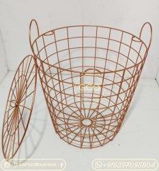 Iron Powder Coated Metal Basket With Handle, Size: 16