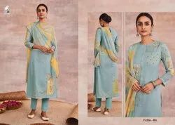 Cotton Cambric Fancy Printed Straight Woman Salwar Suit
