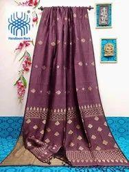 Jamdani handloom linen organic degine Saree with blouse, Dry clean