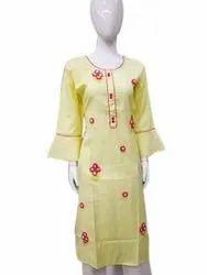 Casual Wear Straight Ladies Round Neck Cotton Kurti, Wash Care: Machine wash
