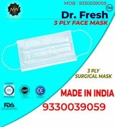 Ear Loop Mount Fluid Resistance 3Ply Surgical Face Mask