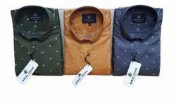Dotted Mens Dot Printed Cotton Shirt