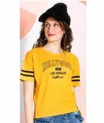 Half Sleeve Yellow Girls Round Neck Printed T Shirt