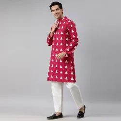 Janasya Men's Maroon Cotton Kurta ( Men5031)