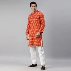 Janasya Men's Orange Cotton Kurta( Men5021)