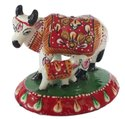 Nirmala Handicrafts Metal Meenakari Cow And Calf Statue Enamel Work Figurine On Round Pawti