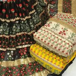 Long width georgette embroidery fabric
