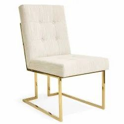 ARC Square Stainless Steel Gold Plated Dining Chair, For Home