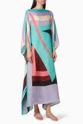 Digital Printed Lounge Wear Crepe Kaftan for Women