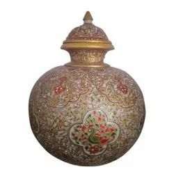 Golden Marble Decorative Matki, For Home, Size: 12 Inch