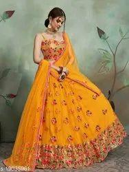 Net Yellow Graceful Womens Lehenga