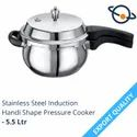 Elite Silver Stainless Steel Induction Handi Shape Pressure Cooker - 5.5 Ltr, For Home