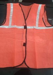 Krishna Enterprises Without Sleeves Polyester Safety Jacket, For Traffic Control, Size: Medium
