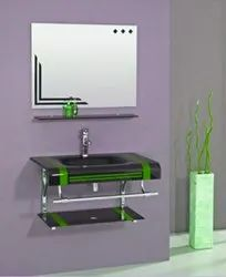 Vika Wall Mounted Stylish Glass Wash Basin With Mirror, For Bathroom Fittings