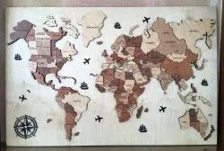 Wooden World Map 3d ( With Wood Base)