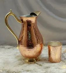 Round Copper Jug With Glass, Capacity: 1.5 LTR, Size: 19x14x27 Cm