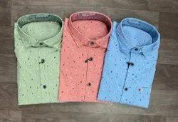 Printed Collar Neck Men Cotton Casual Shirt, Machine wash