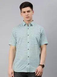 Printed Collar Neck Millennial Men White Cotton Short Sleeves Shirts For Men, Handwash, Size: 38-50