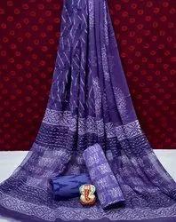 Blue Natural Bagru Ajrakh Hand Block Printed Cotton Dress Material With Chiffon Dupatta