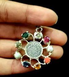 Navratna Pendant Silver With Natural Gemstones