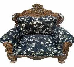 Saleem Handicraft Single Seater Printed Velvet Wooden Sofa Chair