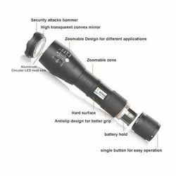 Hesham Aluminum Diamond Super Bright LED Flashlight Torch (Rechargeable)