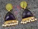 Green Monalisa Amethyst Quartz Gemstone Stud Earring Set