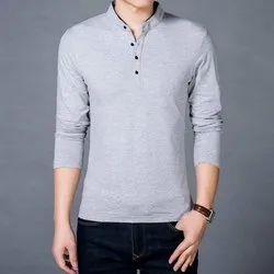 100% Hosiery Knitted Fabric Plain Chinese Collar Shirt, Size: S-XXL