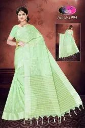 SHREEJI Casual Linen Embroidery Saree, 6.3 m (with blouse piece)