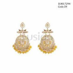 Fusion Arts Golden Kundan Chandbali Earrings