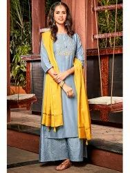 Janasya Women''s Blue Poly Muslin Kurta With Palazzo and Dupatta(J0077)