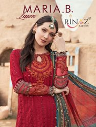 Rinaz Fashion Maria B Cambric Cotton Embroidered Pakistani Suit Catalog
