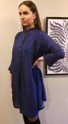 Women Casual Wear Blue Colour Slik Dress, Size: Medium