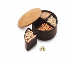 Round Brown Plastic Dry Fruit Box