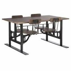 Black body rustic wood top 4 Seater Iron Kid Dining Table, For School