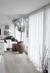 White Plain Living Room Window Curtain