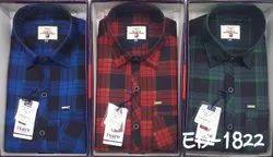 Checks Collar Neck Cotton Checkered Shirt, Machine wash, Size: L