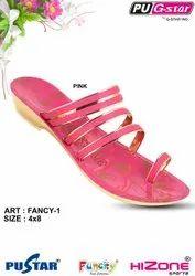 Ladies Pink PU Slipper