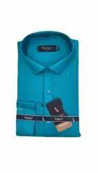 Cotton Full Sleeves Mens Blue Formal Shirt, Handwash