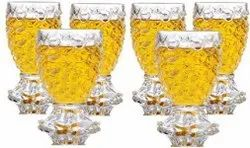 150 mlCrystal Clear Pineapple Shaped Juice Glasses 6 Pieces - Transparent