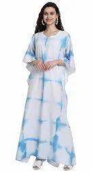 Tie-Dye Cotton Printed Women Long Ankle Length Kaftan