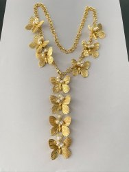 Gold Brass Butterfly Necklace With Sea Pearls