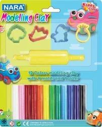 Solid Multicolor Nara Thailand - Modelling Clay (ST-150-12+4SM/R), For Kids Art & Craft, Packaging Type: Packet