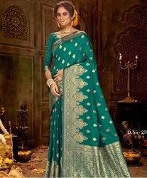 Embroidered Green Ladies Wedding Silk Saree, 6 m (with blouse piece)