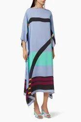 Calf Length Women Printed Crepe Fabric Kaftan Kurta