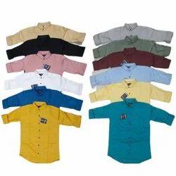 Collar Neck Mens Full Sleeves Cotton Plain Shirts