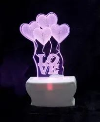 Shayona Love Balloons Couple 7 Color Changing 3D Illusion LED  Acrylic Night Lamp