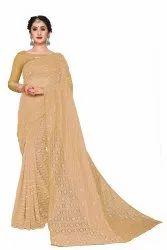 Pearl Work Rasal Jacquard Net Saree